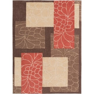 Hand-tufted Brown Floral Squares Rug (8&#39; x 11&#39;)