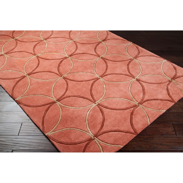 Hand-tufted Contemporary Orange Retro Chic Green Geometric Abstract Rug (5' x 8')