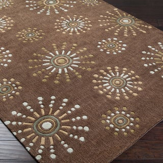 Hand-tufted Contemporary Retro Chic Green Brown Geometric Abstract Rug (5' x 8')