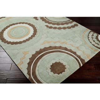 Hand-tufted Contemporary Retro Chic Green Geometric Circles Abstract Rug (5' x 8')