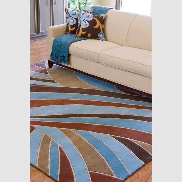 Hand-tufted Contemporary Blue Striped Mayflower Wool Rug (8' x 11')