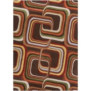 Hand-tufted Brown Contemporary Geometric Square Mayflower Wool Rug (8' x 11')