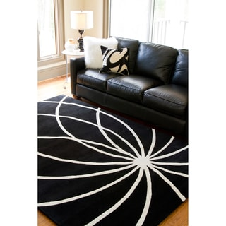 hand tufted contemporary black white mayflower wool abstract rug 4