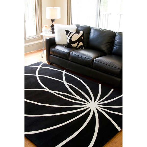 Hand-tufted Contemporary Black/White Wool Abstract Rug (5' x 8')