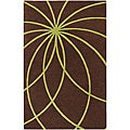Hand-tufted Contemporary Brown/Green Mari Wool Abstract Rug (8' x 11')