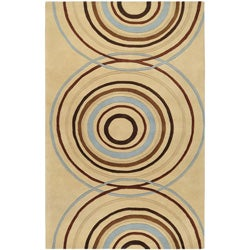 Hand-tufted Beige Contemporary Circles Wool Geometric Rug (8' x 11')