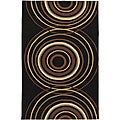Hand-tufted Black Contemporary Circles Wool Geometric Rug (5' x 8')