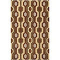 Hand-tufted Brown Contemporary Mayflower Wool Geometric Rug (5' x 8')