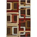 Hand-tufted Brown Contemporary Multi Colored Square Mayflower Wool Geometric Rug (5' x 8')