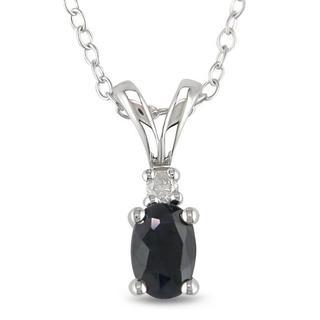 M by Miadora Silver Black Sapphire and Diamond Necklace