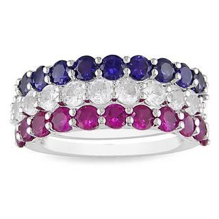 Miadora Sterling Silver Created Ruby, White and Blue Sapphire 3-piece Stackable Ring Set