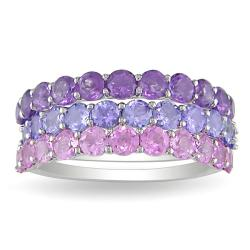 Miadora Silver Amethyst, Tanzanite, and Created Pink Sapphire 3-piece Stackable Ring Set