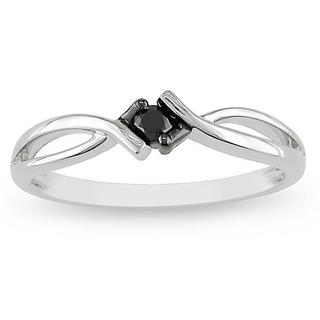 Haylee Jewels 10k White Gold 1/10ct TDW Black Diamond Solitaire Promise Ring