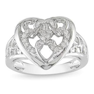 Haylee Jewels Sterling Silver 1/10ct TDW Diamond Heart Ring (G-H, I2-I3)