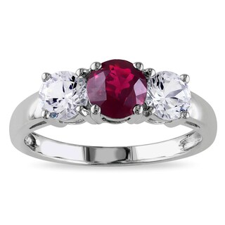 Miadora 10k White Gold Created Ruby and White Sapphire 3-stone Ring