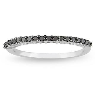 Miadora 10k White Gold 1/5ct TDW Black Diamond Ring with Bonus Earrings