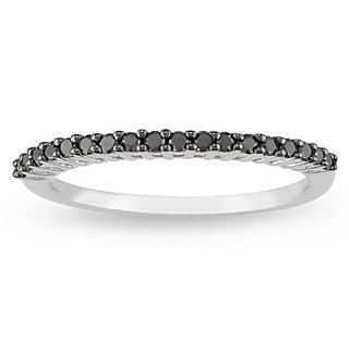 Haylee Jewels 10k White Gold 1/5ct TDW Black Diamond Ring