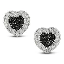Haylee Jewels Sterling Silver 1/4ct TDW Black and White Diamond Heart Earrings (G-H, I2-I3)