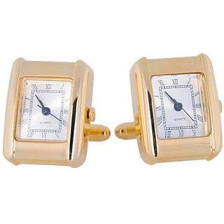 Cuff Daddy Goldplated Elegant Square Watch Cuff Links