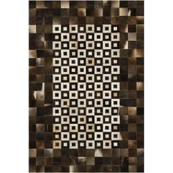 "Handmade Mandara Geometric Brown Leather Rug (7'9"" x 10'6"")"