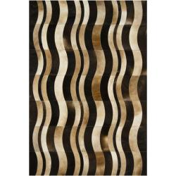 Handmade Mandara Brown Leather Rug with Wavy Lines Pattern (3' x 5')