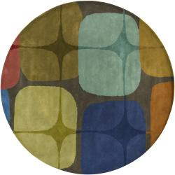 Hand-Tufted Mandara Brown Abstract New Zealand Wool Area Rug (7'9 Round)