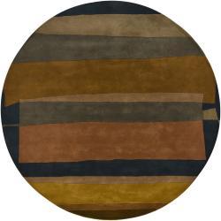 Hand-tufted Mandara Brown Geometric New Zealand Wool Rug (7'9 Round)
