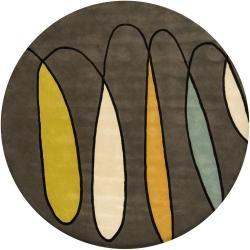 Hand-tufted Mandara Grey Geometric New Zealand Wool Rug (7'9 Round)