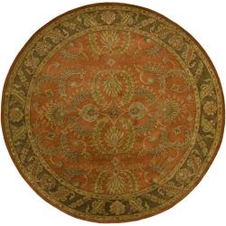 Hand-tufted Mandara Orange New Zealand Wool Rug (7'9 Round)