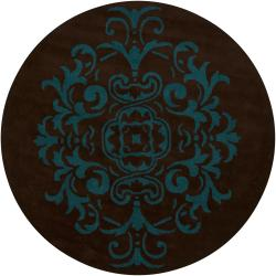 Hand-tufted Mandara Brown Abstract New Zealand Wool Rug (7'9 Round)