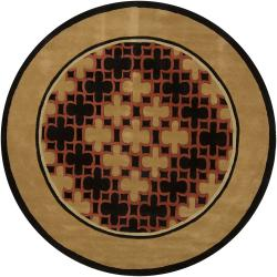 "Hand-Tufted Mandara Brown/Black/Orange Geometric New Zealand Wool Rug (7'9"" Round)"