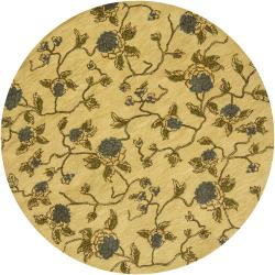 Hand-tufted Mandara Gold Floral New Zealand Wool Rug (7'9 Round)