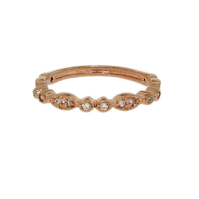 14k Rose Gold over Sterling Silver Cubic Zirconia Marquise-shape Ring
