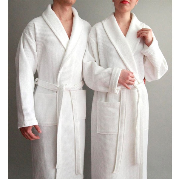 Authentic Hotel Spa Unisex Turkish Cotton Waffle Weave Terry Bath Robe