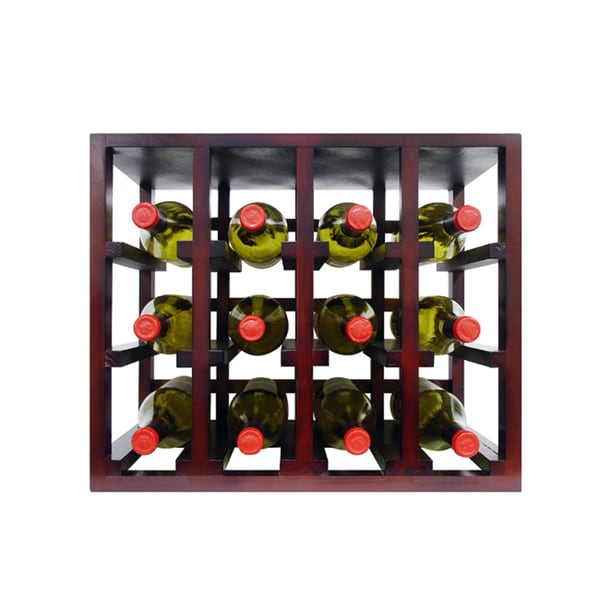 Epicureanist Medium Brown Wood 12-bottle Stackable Wine Rack