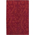 Set of 2 Hand-knotted Andes Red Wool Rugs (2' x 3')