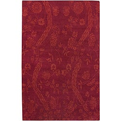 Hand-knotted Andes Red Wool Rug (5' x 8')