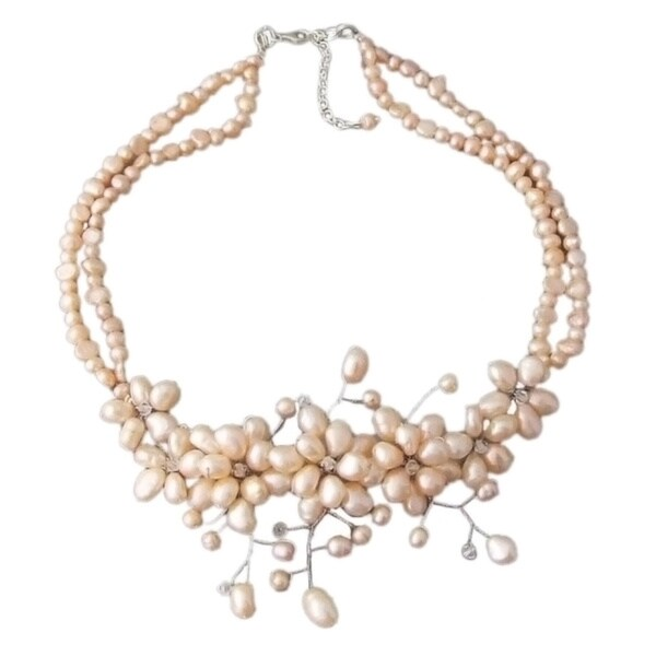 Sterling Silver Freshwater Pearl 'Sakura' Necklace (Thailand)