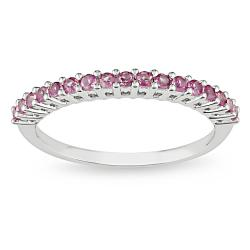 Miadora 10k White Gold Created Highly Polished Pink Sapphire Fashion Ring