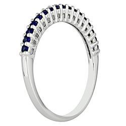 Miadora 10k White Gold Created Sapphire Fashion Ring