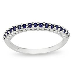 Miadora 10k White Gold Created Sapphire Fashion Ring
