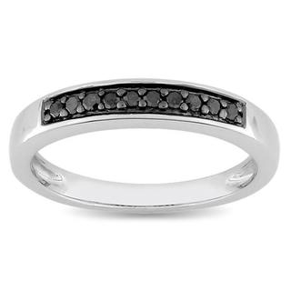 Haylee Jewels Sterling Silver 1/10ct TDW Black Diamond Ring