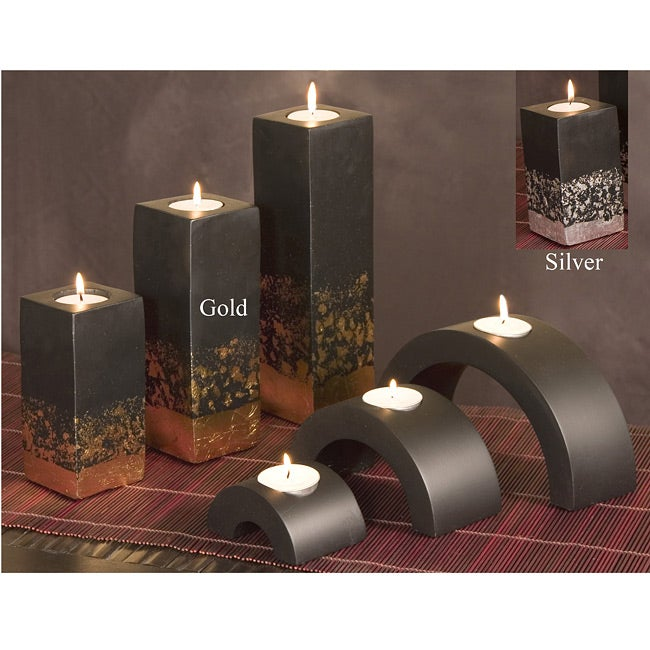 Set of 6 Mango wood candle holders