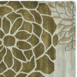 Handmade Soho Botanical Light Grey N. Z. Wool Rug (8' Square)