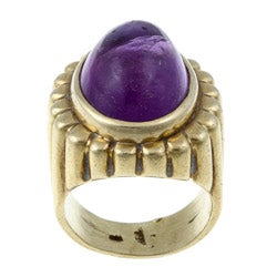 18k Yellow Gold Amethyst 1970s Cocktail Ring