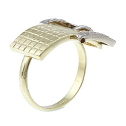 14k Gold 1/3ct TDW Diamond Belt Buckle Estate Ring (I-J, SI1-SI2)