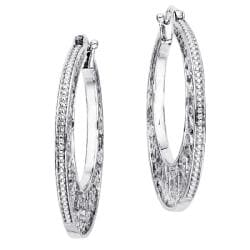 Sterling Silver Diamond Accent Round Filigree Hoop Earrings
