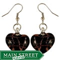 Murano-inspired Glass Black and Copper Heart Earrings