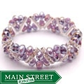 Crystal and Rhinestone Amethyst Purple Stretch Bracelet