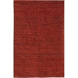 Hand-woven Red Jute Rug (8' x 10')
